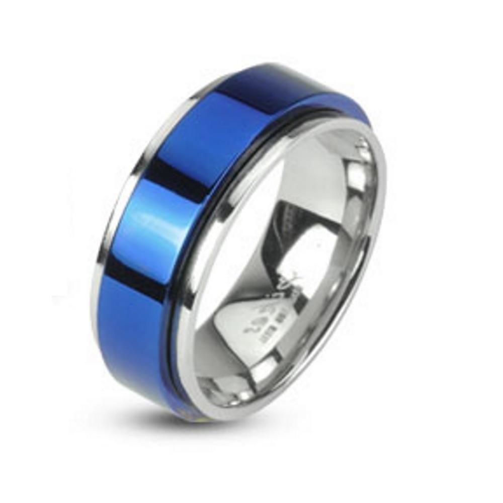 Ring mit Mittelring Blau aus Edelstahl Unisex