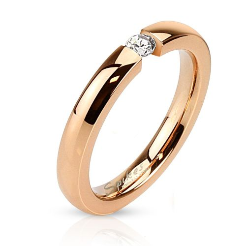 54 (17.2) rose gold ring with zirconia crystal stone stainless steel mirror polished for women engagement ring (ring women finger ring partner rings engagement rings wedding rings women ring surgical steel)