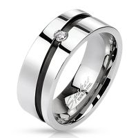 49 (15.6) Edelstahl Kristall Ring mit diagonal schwarzem Mittelring silber hochglanzpoliert Damen Herren Partnerringe (Ring Damen Fingerring Partnerringe Verlobungsringe Trauringe Damenring)