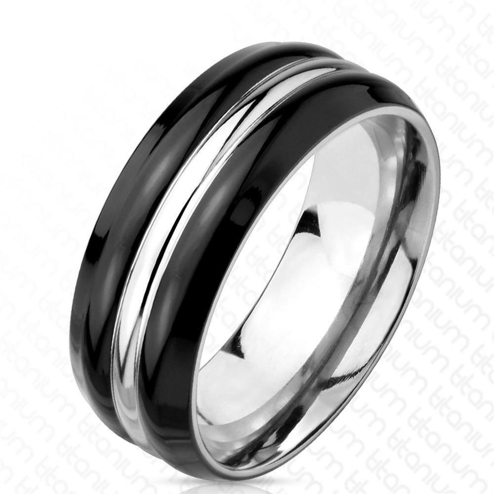 64 (20.4) Ring gestreift schwarz silber aus Titan Herren