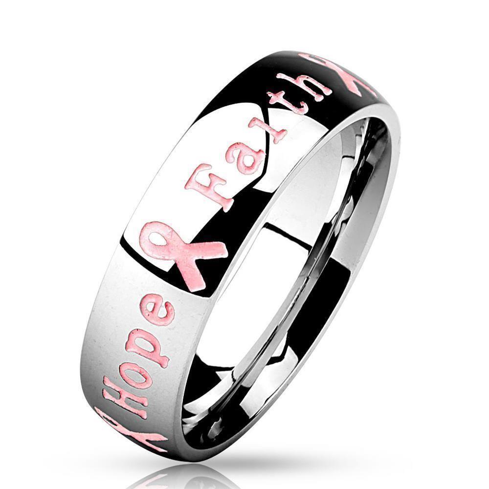 """67 (21.3) Bungsa© Ring Gravur - Schmuckring mit graviertem SCHRIFTZUG """" Courage Strength Hope Faith"""" - Brustkrebs Awareness Ring für Damen & Herren - Pink Ribbon Breast Cancer Ring mit Gravur"""