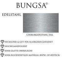 64 (20.4) Bungsa© Kristallring mattsilber mit goldenen Außenringen aus Edelstahl