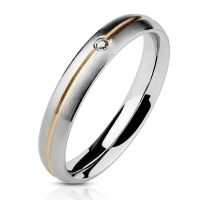 49 (15.6) Ring zweifarbig Silber aus Edelstahl Damen