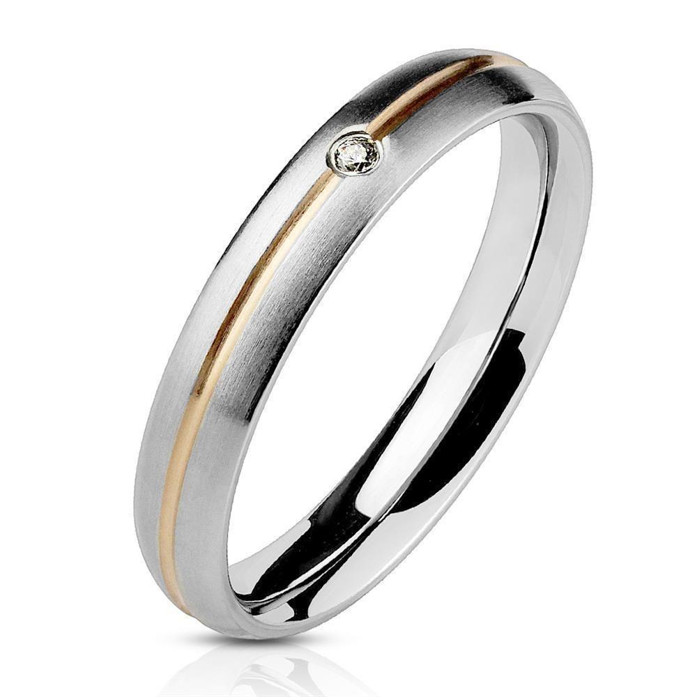 54 (17.2) Ring zweifarbig Silber aus Edelstahl Damen