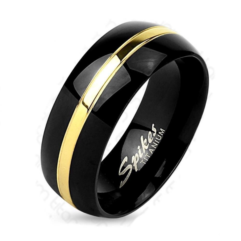 49 (15.6) Bungsa© TITANIUM RING schwarz-gold - Ring aus Titan für DAMEN & HERREN - schwarzer Schmuckring mit Gold Linie - Titan Ringe schwarz - schwarzer TITANRING