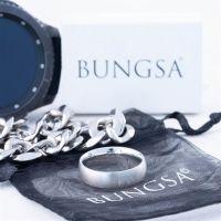 49 (15.6) Bungsa© silberner RING für Damen & Herren - Silber - Damenring aus EDELSTAHL matt - edler Edelstahlring geeignet als Verlobungsringe, Freundschaftsringe & Partnerringe