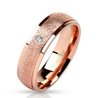 49 (15.6) rose gold ring with stone zirconia crystal sand...