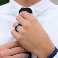52 (16.6) Bungsa© blauer RING für Damen & Herren - Blau - Damenring aus EDELSTAHL matt - edler Edelstahlring geeignet als Verlobungsringe, Freundschaftsringe & Partnerringe