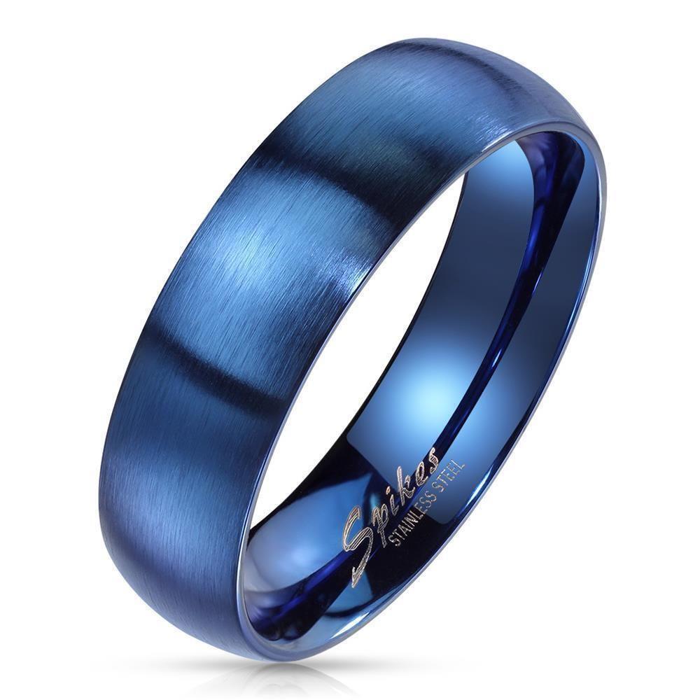 54 (17.2) Bungsa© blauer RING für Damen & Herren - Blau - Damenring aus EDELSTAHL matt - edler Edelstahlring geeignet als Verlobungsringe, Freundschaftsringe & Partnerringe