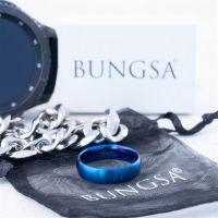 70 (22.3) Bungsa© blauer RING für Damen & Herren - Blau - Damenring aus EDELSTAHL matt - edler Edelstahlring geeignet als Verlobungsringe, Freundschaftsringe & Partnerringe
