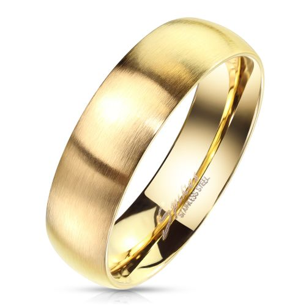 54 (17.2) Bungsa© goldener RING für Damen & Herren - Gold - Damenring aus EDELSTAHL matt - edler Edelstahlring geeignet als Verlobungsringe, Freundschaftsringe & Partnerringe