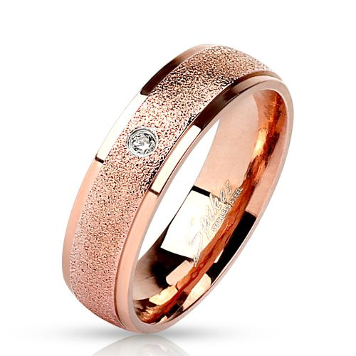 60 (19.1) rose gold ring with stone zirconia crystal sand optics narrow stainless steel engagement for women and men (ring women finger ring partner rings engagement rings wedding rings women ring surgical steel)