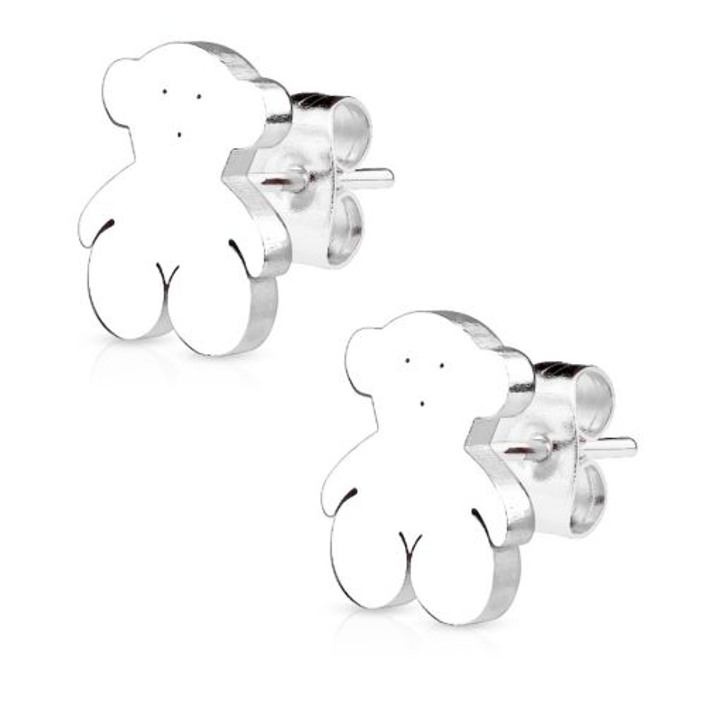 Ohrstecker Teddybär Silber aus Edelstahl Damen