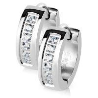 Creolen Kristall Silber aus Edelstahl Damen