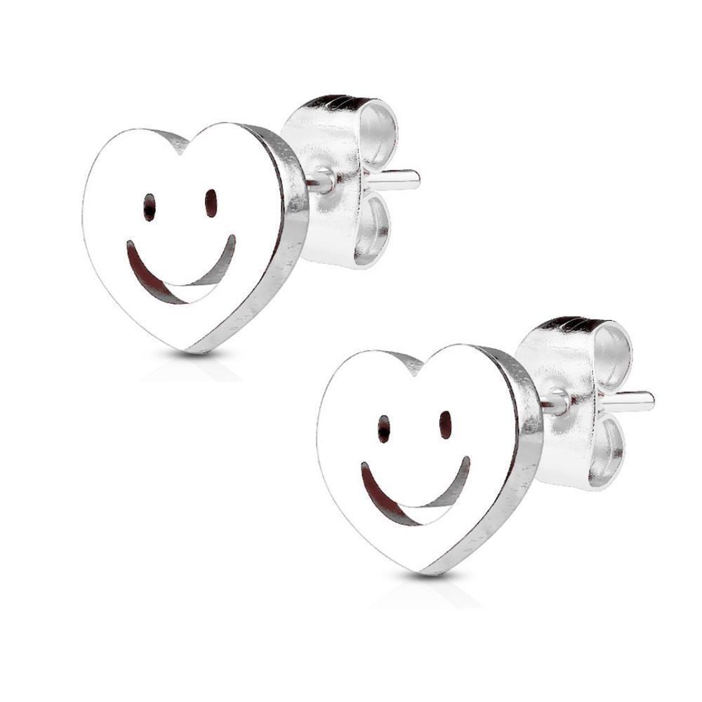 Silber - Ohrstecker Smiley Silber aus Edelstahl Damen
