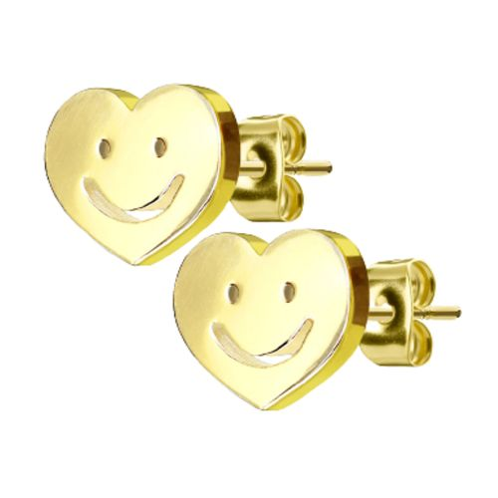 Gold - Ohrstecker Smiley aus Edelstahl Damen