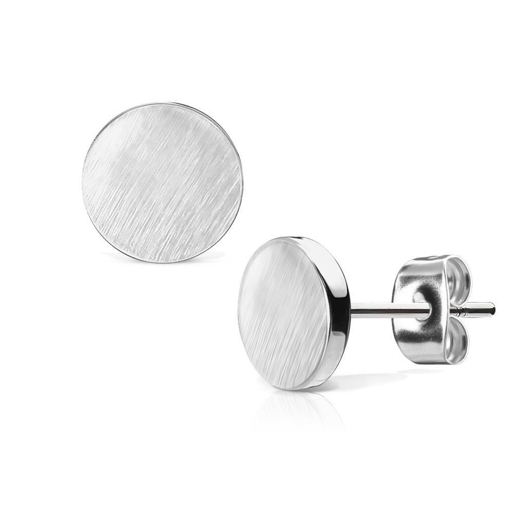 Silber - Ohrstecker rund gebürstet Silber aus Edelstahl Damen