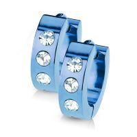 Blau - Creolen mit Kristall-Stein aus Edelstahl Damen