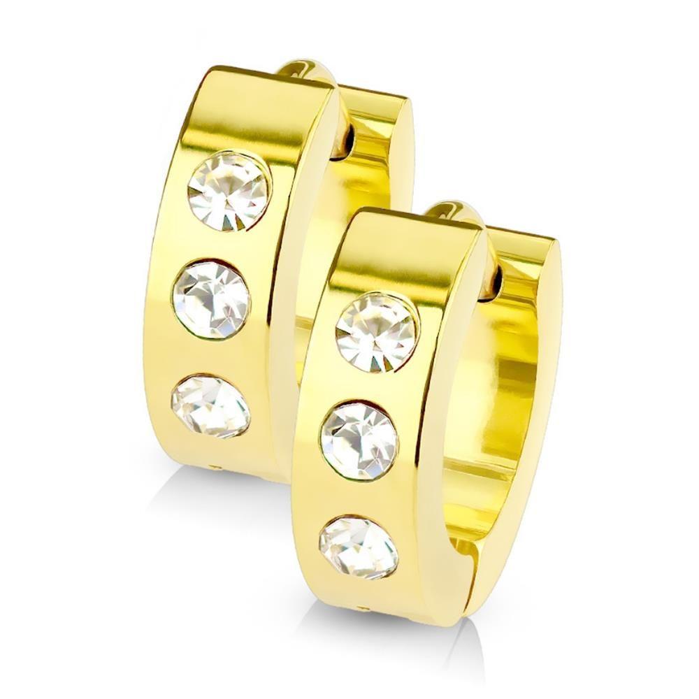 Gold - Creolen mit Kristall-Stein aus Edelstahl Damen