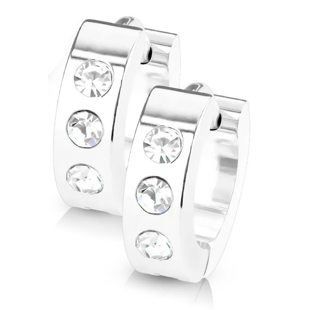 Silber - Creolen mit Kristall-Stein aus Edelstahl Damen