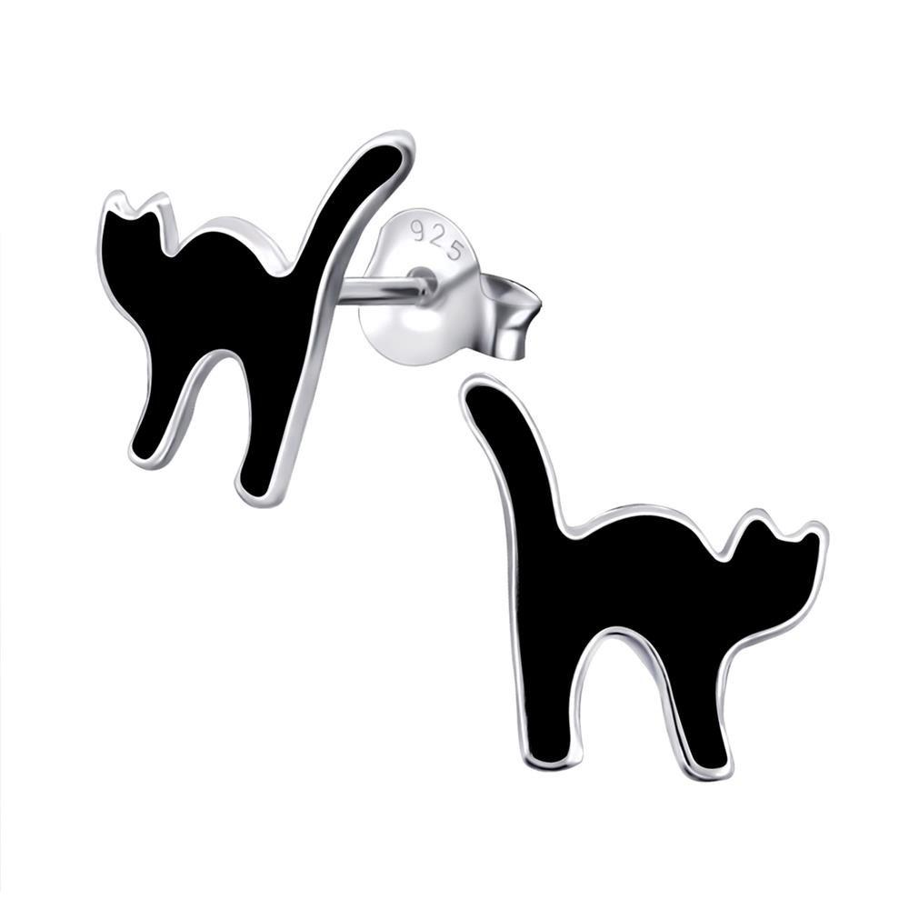 Ohrstecker schwarze Katze aus .925 Sterling Silber