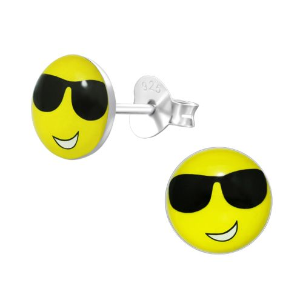 Ohrstecker Smiley aus 925 Silber Unisex
