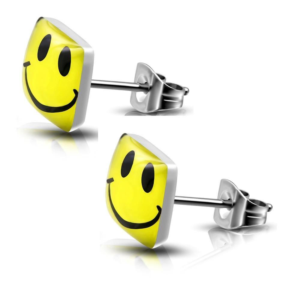 Ohrstecker Happy Smiley Gelb aus Edelstahl Unisex