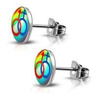 Ohrstecker Rainbow Bunt aus Edelstahl Unisex