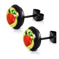 Black strawberry studs made of stainless steel unisex