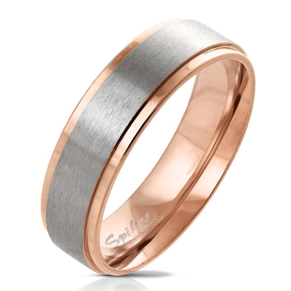 49 (15.6) Ring zweifarbig Rose und Silber aus Edelstahl Damen