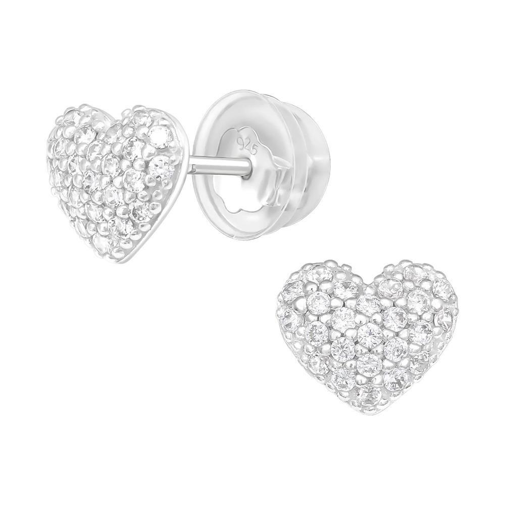 Ohrstecker Herz mit Zirkonia Kristallen Damen aus Echtsilber