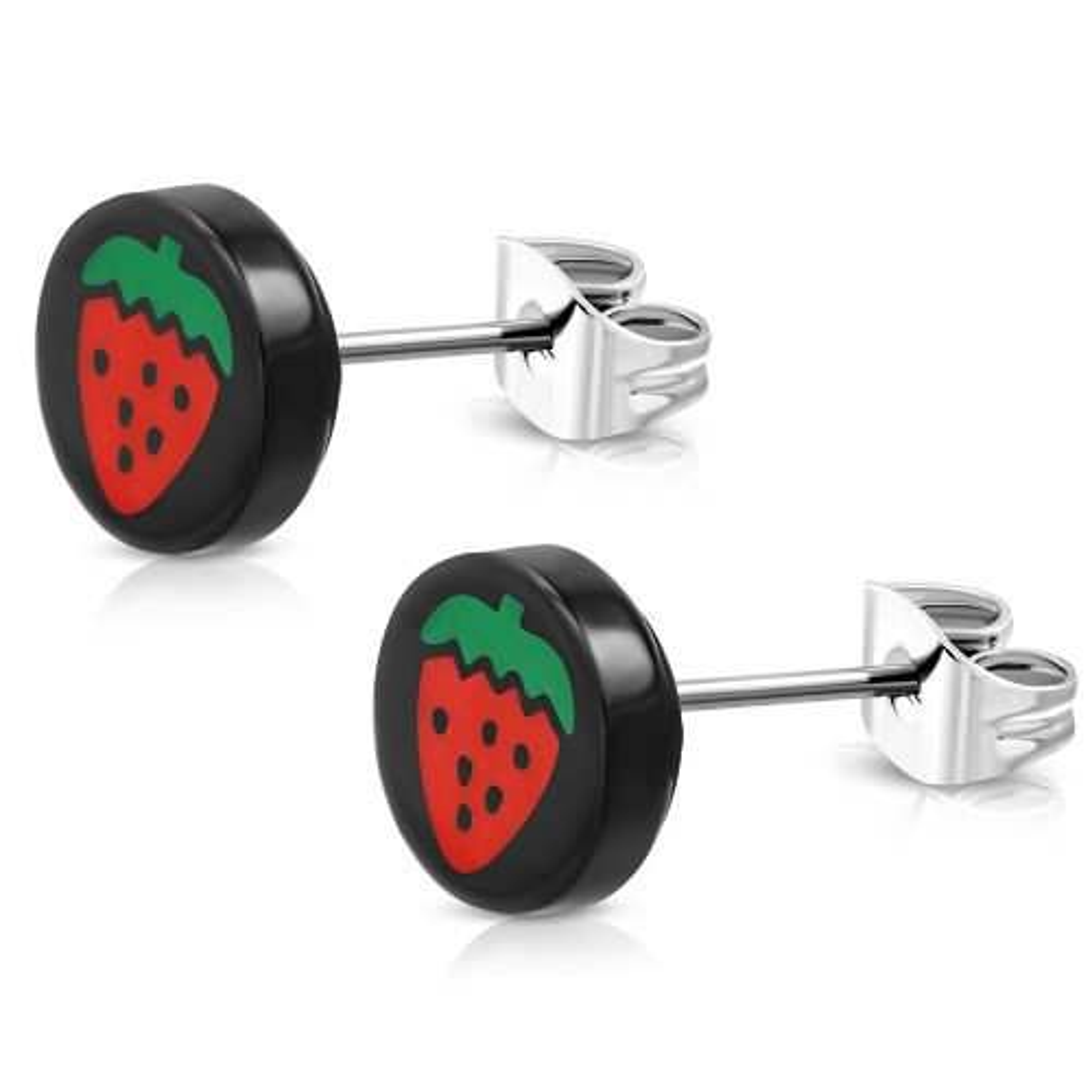 Ohrstecker Erdbeeren Schwarz aus Edelstahl Unisex