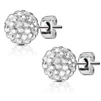 Shamballa silver stud earrings made of stainless steel...