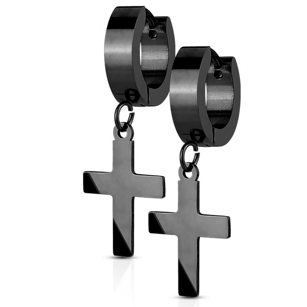 Creolen mit Anhänger Kreuz aus Edelstahl Damen