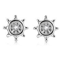 Silber - Ohrstecker Steuerrad mit Kristall Silber aus Edelstahl Damen