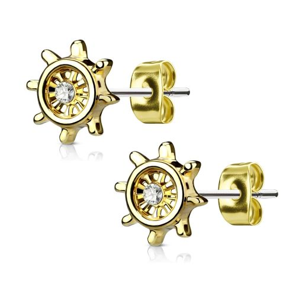 Gold - Ohrstecker Steuerrad mit Kristall aus Edelstahl Damen