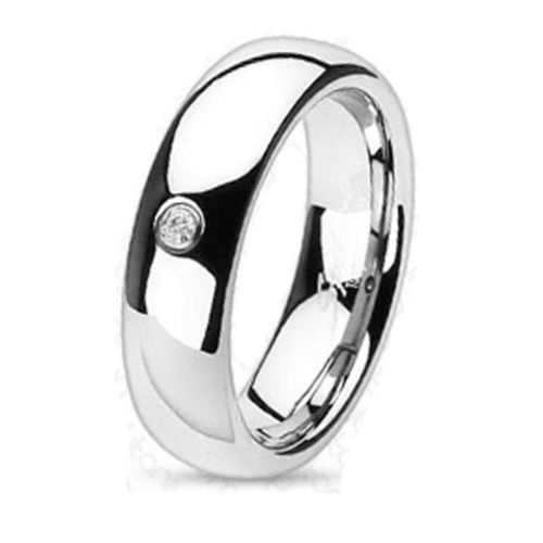 Ring with crystal mirror polished silver titanium unisex