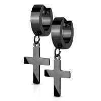 Schwarz - Creolen mit Anhänger Kreuz aus Edelstahl...