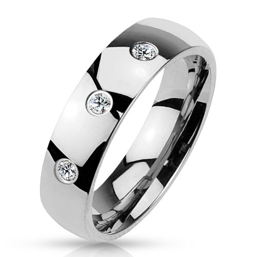 49 (15.6) Ring stone women with 3 crystals stainless steel mirror polished silver mens ring (womens finger ring partner rings engagement rings wedding rings womens ring stainless steel ring surgical steel)