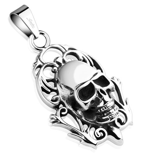 Pendant skull silver made of stainless steel unisex