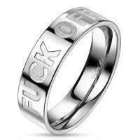 62 (19.7) Ring FUCK OFF Silber aus Edelstahl Unisex