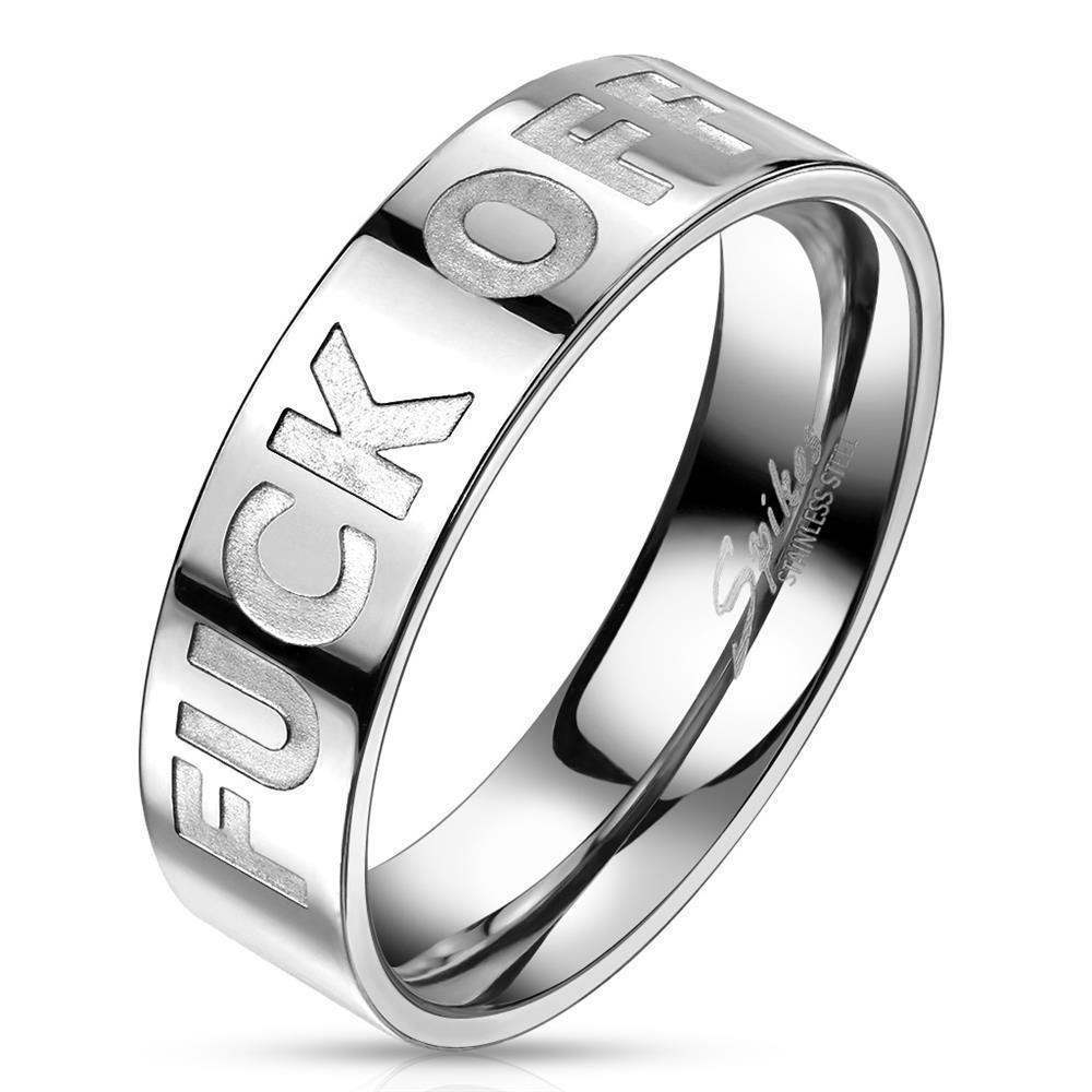 64 (20.4) Ring FUCK OFF Silber aus Edelstahl Unisex