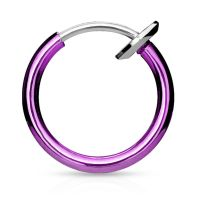 Lila - Fake Piercing Ring mit Springverschluss Silber aus...
