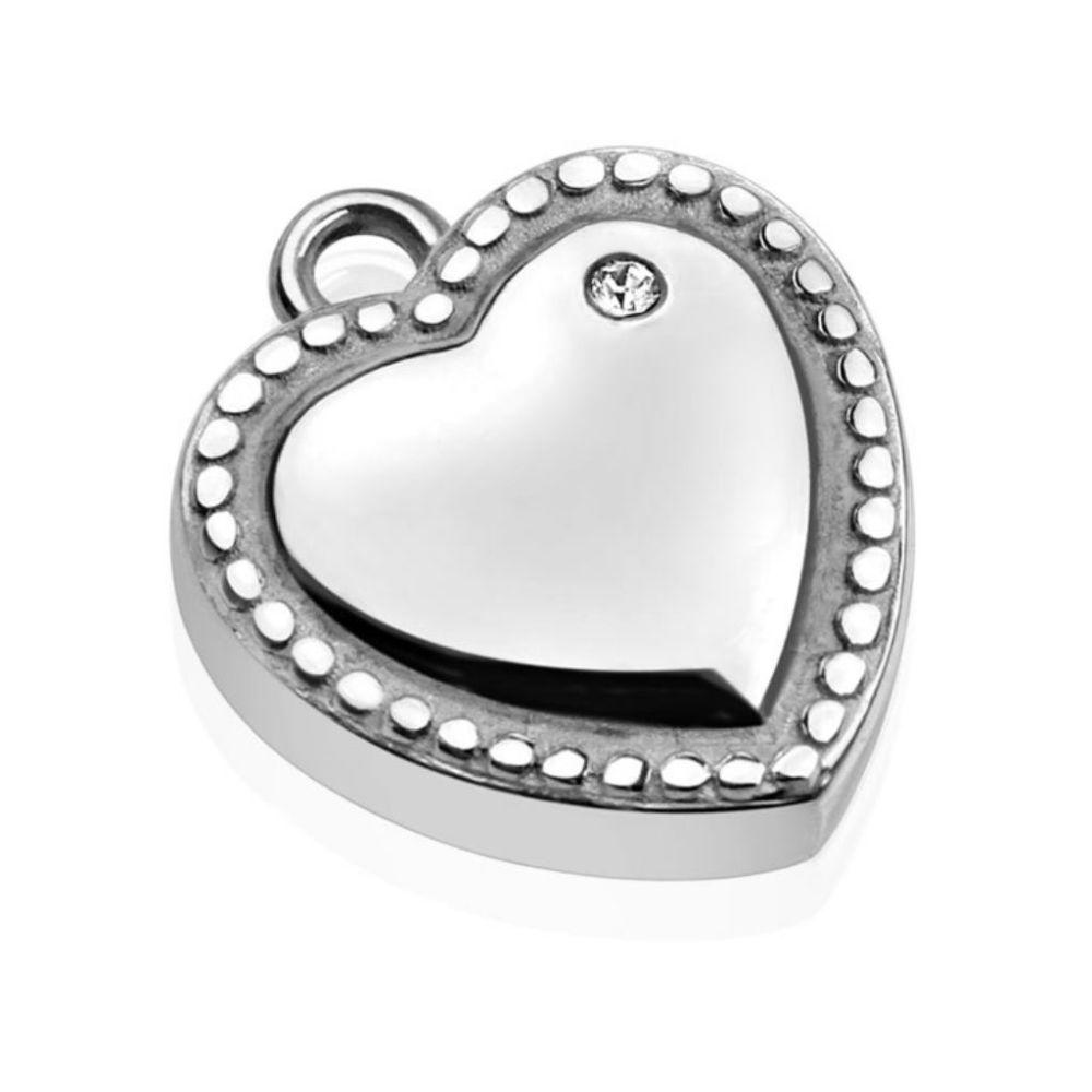 Silber - Anhänger Herz mit Kristallrand Silber aus Edelstahl Damen