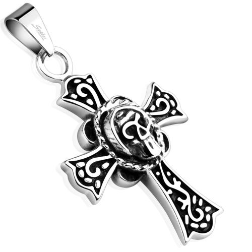 Pendant Celtic cross with skull silver made of stainless steel unisex