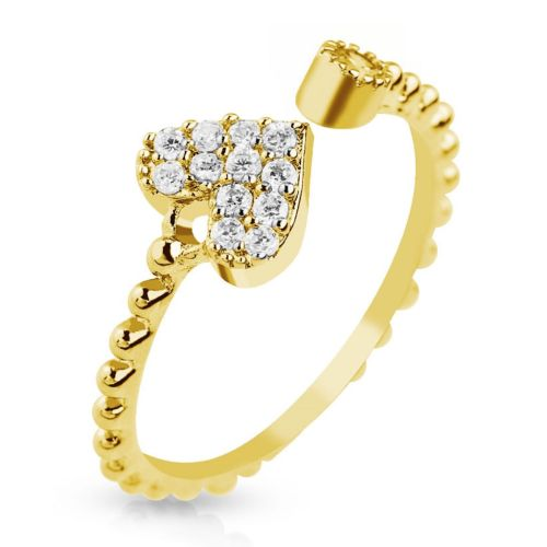 Gold colored center ring heart with zirconia gold crystal toe ring for women stainless steel (Zehring foot jewelry foot ring toe ring nail ring bendable adjustable)