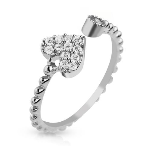 Stainless steel middle ring heart with zirconia silver crystal toe ring for women stainless steel (Zehring foot jewelry foot ring toe ring nail ring bendable adjustable)
