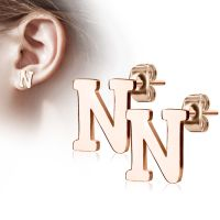 N studs letters rose gold stainless steel ladies