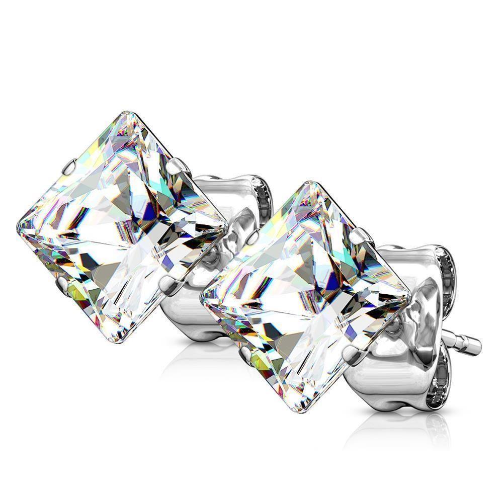 CC-Kristallklar - Ohrstecker Zirkonia Silber aus Edelstahl Damen
