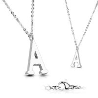 A - chain letter pendant silver stainless steel ladies A